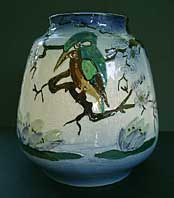 Art Deco pottery image - Art deco R Dean tube lined and hand decorated ovoid Staffordshire art pottery vase c.1920-30