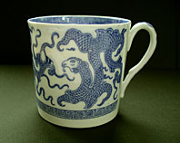 antique blue and white pottery image - RARE STAFFORDSHIRE PORCELAIN MASONS BLUE AND WHITE TRANSFER PRINTED DRAGON PATTERN COFFEE CAN C.1815