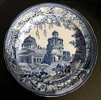 "antique blue and white pottery image - STAFFORDSHIRE PEARLWARE ORIENTAL SCENERY TRANSFERWARE BLUE & WHITE PLATE C. 1820-30 THE ""MONOPTOROS"" PATTERN BY ROGERS"