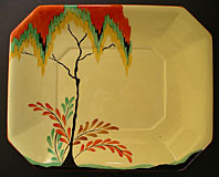 Art Deco pottery image - Carlton Ware art deco pottery Autumn Trees and Fern pattern No. 3517 shaped dish c.1930-32