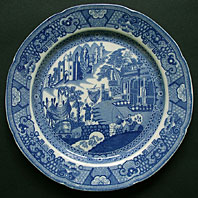 antique blue and white pottery image - ENGLISH PEARLWARE POTTERY FISHERMAN AND CASTLE PATTERN TRANSFERWARE BLUE AND WHITE PLATE C.1800=1810
