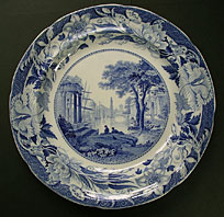 antique blue and white pottery image - FINE WEDGWOOD BLUE CLAUDE PATTERN PEARLWARE PLATE C.1822-30