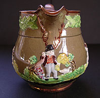 STAFFORDSHIRE ENOCH WOOD AND SONS COPPER LUSTRE & PRATTWARE ANTIQUE POTTERY JUG C.1820