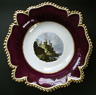 RARE FLIGHT BARR AND BARR WORCESTER PORCELAIN NAMED VIEW COMPORT, WARWICK CASTLE WALES C.1813-19