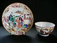 "CHINESE PORCELAIN TEABOWL AND SAUCER CHINESE ""LOWESTOFT"" PATTERN, QIANLONG CIRCA 1760"