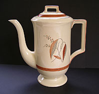 Art Deco pottery image - STYLISH GRAY'S POTTERY STAFFORDSHIRE ART DECO COFFEE POT HAND PAINTED LEAF AND BERRY PATTERN C.1935-39