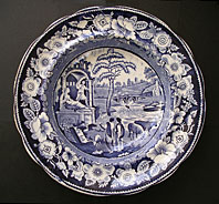antique blue and white pottery image - ROBERT HAMILTON THE PHILOSOPHER PATTERN ANTIQUE BLUE AND WHITE POTTERY TRANSFERWARE DISH C. 1811-26