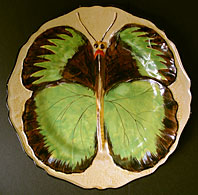 Art Deco pottery image - Hancocks Ivory Ware Staffordshire Art Deco pottery Butterfly refief pattern wall plate c.1930