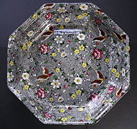 Art Deco pottery image - RARE STAFFORDSHIRE NEWPORT POTTERY (A.J. WILKINSON) ART DECO CHINTZ PATTERN LARGE OCTAGONAL DISH C.1925
