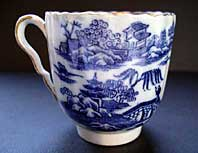 antique blue and white pottery image - VERY RARE EARLY SPODE BLUE AND WHITE PEARLWARE COFFEE CUP THE TWO FIGURES I PATTERN C.1785-90