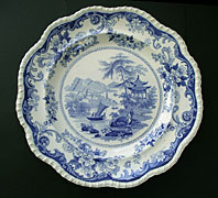CANTON VIEWS PATTERN RARE SPECIAL MARK RED LION HAMPTON BLUE AND WHITE POTTERY LARGE PLATE - ELKIN, KNIGHT AND BRIDGWOOD FENTON C.1827-40