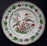 MINTON STAFFORDSHIRE RARE IRONSTONE POTTERY CHINOISERIE FANCY BIRDS PLATE, PATTERN NO. 4401 C.1836-41