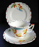 MYOTT STAFFORDSHIRE POTTERY HAND PAINTED ART DECO TRIO, DECO FLORAL PATTERN C.1933-38