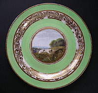 DERBY PORCELAIN ANIMAL SERVICE PATTERN 268 PLATE PAINTING ATTRIBUTED TO JOHN BREWER C.1790