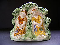 "A FINE STAFFORDSHIRE ANTIQUE POTTERY PRATT WARE ARBOUR FIGURE GROUP ""BABES IN THE WOOD"" C.1795-1815"
