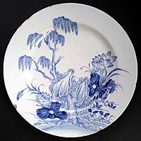 antique pottery image - A RARE LONDON LAMBETH DELFT TIN-GLAZED EARTHENWARE PLATE C.1740