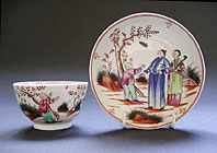Popular New Hall Staffordshire English porcelain Boy and the Butterfly pattern 421 teabowl and saucer c.1785-1800