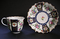 DR WALL WORCESTER FLOWERS CUP AND SAUCER EX. F.S. MACKENNA COLLECTION C.1768-75
