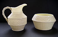 BELLEEK IRISH PORCELAIN CLEARY PATTERN CREAM JUG AND SUGAR BOWL SET THIRD BLACK MARK C.1926-46