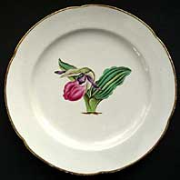 DERBY BOTANICAL SERVICE PATTERN LARGE PLATE, WITH FINE ORCHID FLORAL STUDY BY WILLIAM QUAKER PEGG C.1797-1800