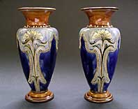 DECORATIVE PAIR OF ROYAL DOULTON STONEWARE, ELIZA SIMMANCE, ART NOUVEAU, ARTS & CRAFTS STYLE VASES C.1902-14