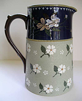 LOVATT LANGLEY MILL STONEWARE, ART NOUVEAU PERIOD C.1905-10, ART POTTERY JUG PRINCESS WARE  PATTERN left