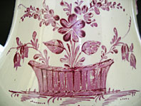 antique pottery image - A RARE DERBY MELBOURNE POTTERY CREAMWARE COFFEE POT AND COVER WITH SUPERB CHARACTERISTIC PURPLE MONOCHROME DECORATION C.1770