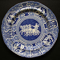 SPODE STAFFORDSHIRE BLUE AND WHITE GREEK PATTERN PEARLWARE PLATE C.1805-25