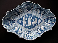 AN UNUSUAL SHAPED SPODE STAFFORDSHIRE BLUE & WHITE GREEK PATTERN PEARLWARE POTTERY DISH C.1805-25