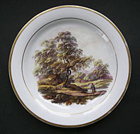 FINEST REGENCY PORCELAIN LANDSCAPE DISH ON SWANSEA PORCELAIN ATTRIBUTED TO WILLIAM BILLINGSLEY C.1817