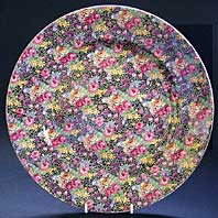 ROYAL WINTON CHINTZ LARGE ART DECO POTTERY CHARGER OR TRAY FOR DISPLAY, HAZEL PATTERN C.1934-39