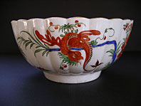 FINEST FIRST PERIOD WORCESTER PORCELAIN JAPANESE STYLE JABBERWOCKY PATTERN FLUTED BOWL C.1770-80