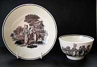 DR WALL WORCESTER PORCELAIN MILKMAIDS PATTERN TEABOWL AND SAUCER C.1772